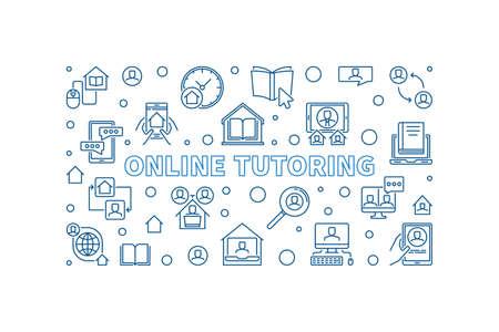 Online Turoring vector blue line horizontal illustration 向量圖像
