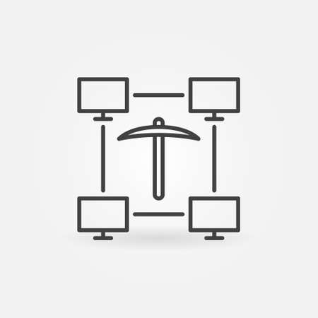 Computer Science and Data Mining vector line concept icon