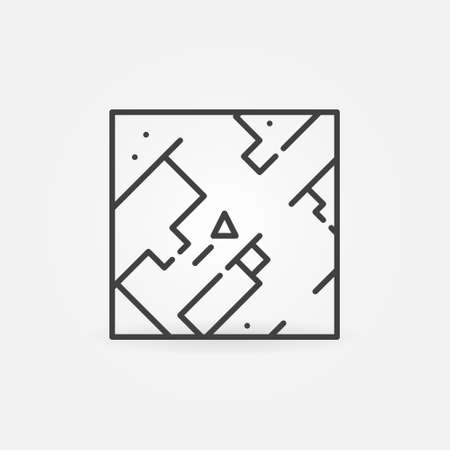 Game Map linear vector concept icon