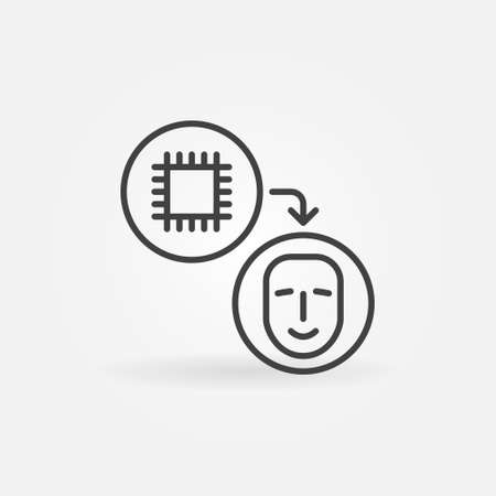 Computer Chip for Humans vector thin line concept icon