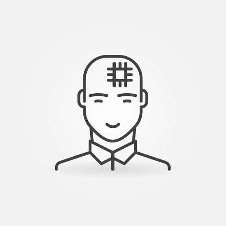 Man with Computer Chip in his Head linear vector icon Ilustracja