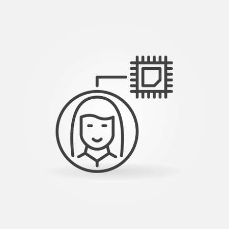 Girl or Woman with Computer Chip vector thin line icon