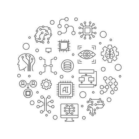 Artificial Intelligence concept vector line circular illustration 向量圖像