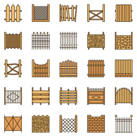 Fences colored icons set - vector Fence creative signs