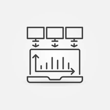 Laptop Data Mining outline vector concept icon