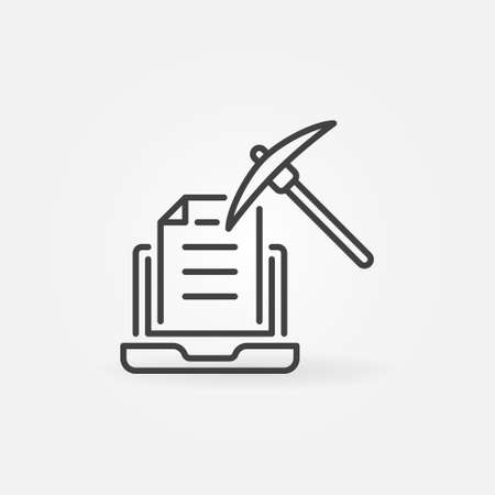 Laptop with Pick-axe vector line concept icon
