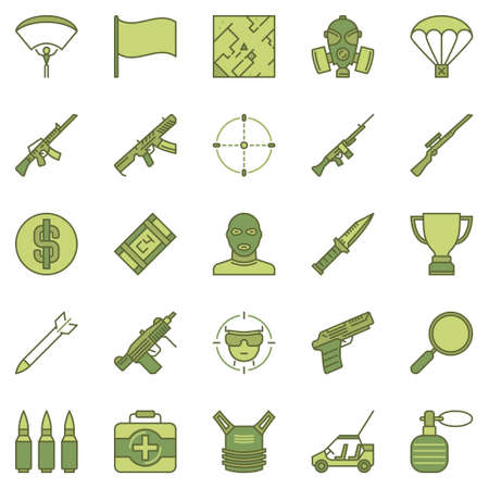 Battle Royale Game concept colored vector icons set