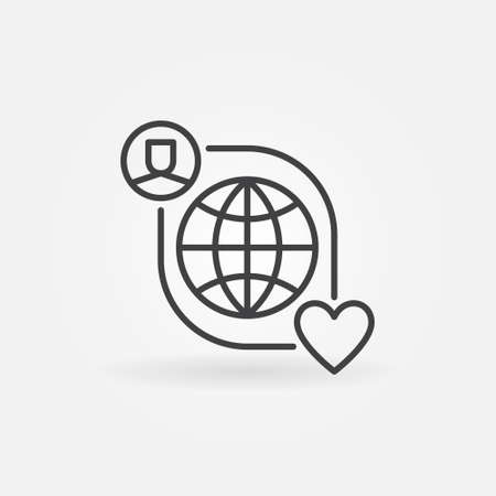 Worldwide Charity vector thin line concept icon 矢量图像