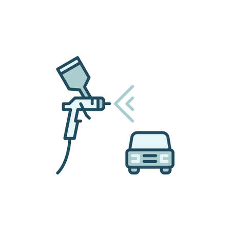 Car with Spray Gun vector concept colored icon