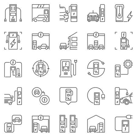 Electric Vehicle Charging Station outline vector icons set Vecteurs