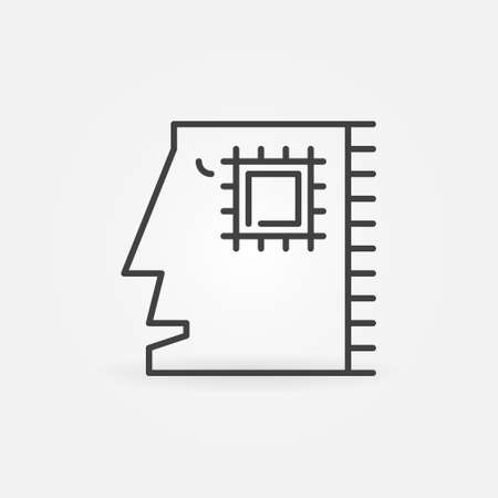 Abstract Human Head with Microchip vector line icon
