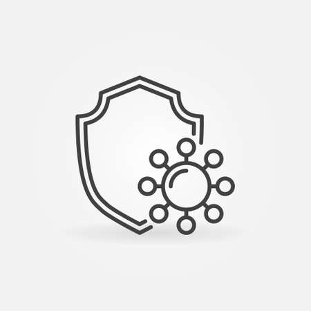 Vector Antiviral Protection thin line concept icon Illustration