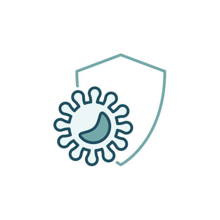 Virus Pathogen with Shield colored vector icon Vektorové ilustrace