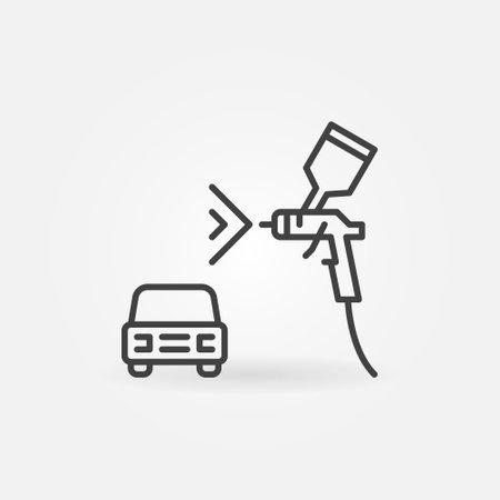 Auto with Spray Gun linear vector concept icon Vecteurs