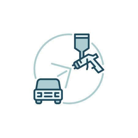 Spray Gun with Car vector concept colored icon Vecteurs