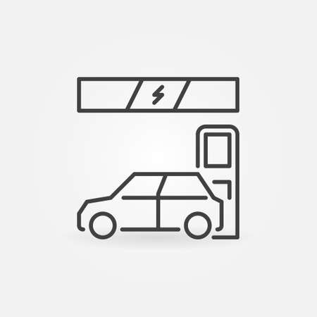 Electric Car at EV Charging Station vector concept line icon