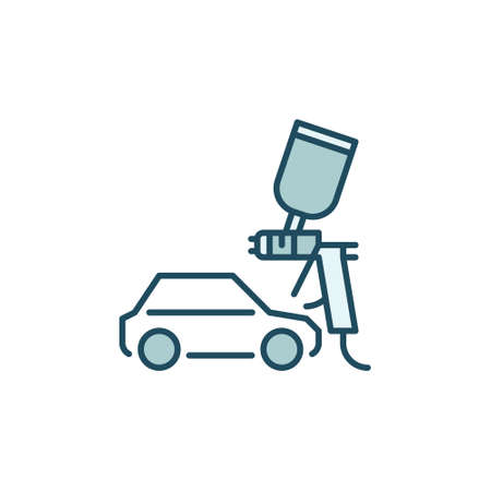 Car and Paint Sprayer vector concept colored icon