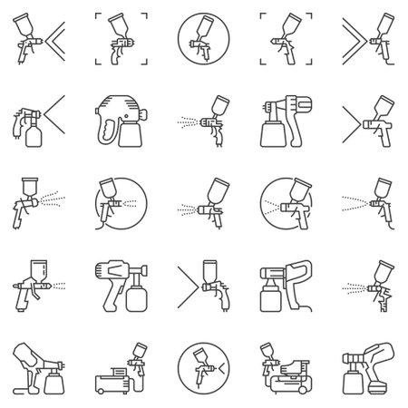 Spray Gun and Paint Sprayer outline vector icons set Vecteurs