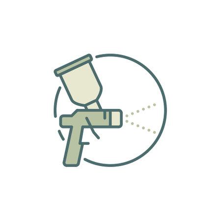 Spray Gun round concept colored icon