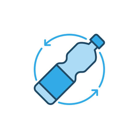 Plastic Bottle Recycling vector concept blue icon