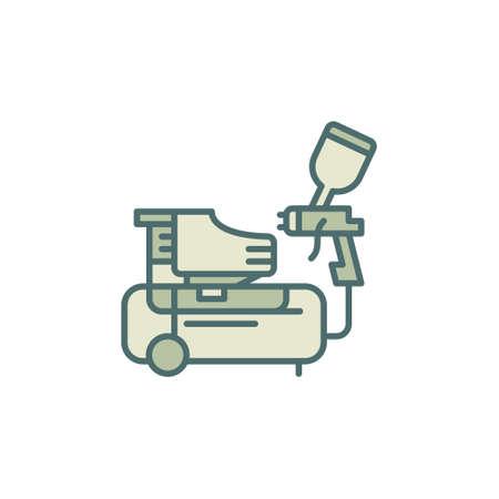 Spray Gun and Compressor vector concept colored icon