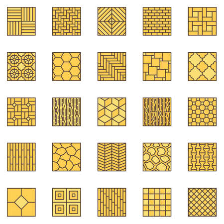 Floor Materials colored icons set - vector Flooring signs
