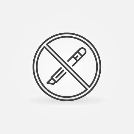 Do not open with a Utility Knife vector concept line icon
