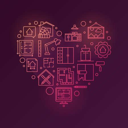 Home Interior Design vector line red heart illustration