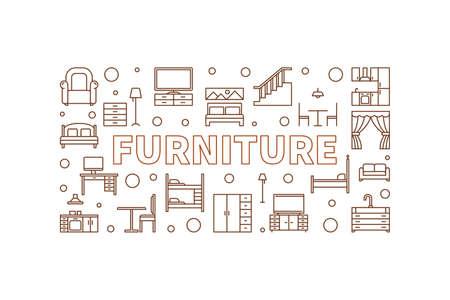 Furniture vector concept linear horizontal illustration or banner Ilustração