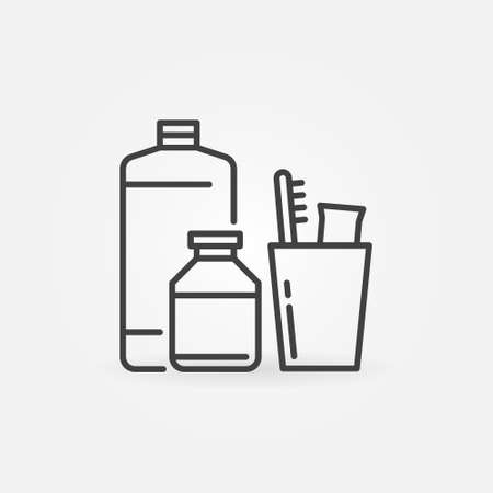 Shampoos and a glass with a toothbrush vector line icon
