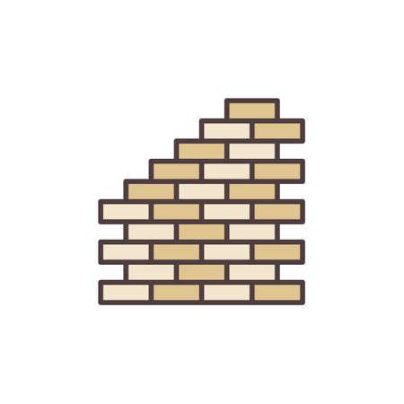 Brick Wall vector concept colored icon or symbol Ilustração