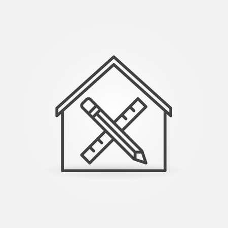 Pencil and Ruler inside House linear vector icon Ilustração