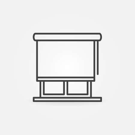 Window with Roll Curtain outline vector concept icon Ilustração