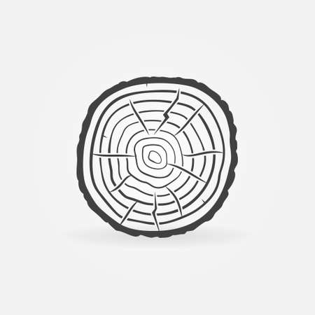 Tree Rings on Saw Cut Tree Trunk vector concept icon