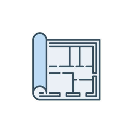 Blueprint or House Plan vector Architecture blue icon