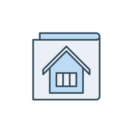 Vector House Documents concept blue icon or sign Ilustração