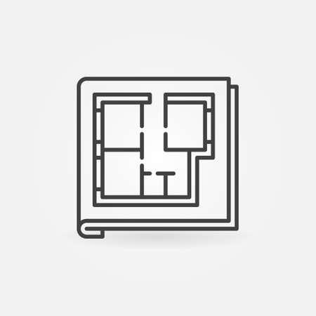 House Floor Plan Documents linear vector concept icon