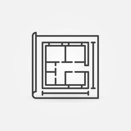 Paper with House Plan outline vector concept icon
