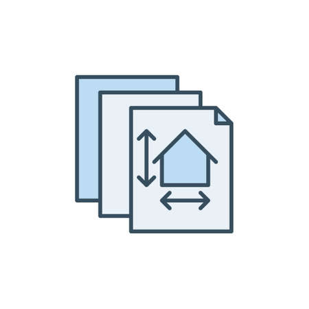 Papers with House Plan vector concept blue icon