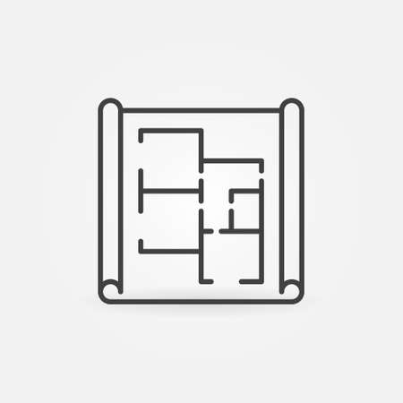 Paper with Apartment Plan linear vector concept icon