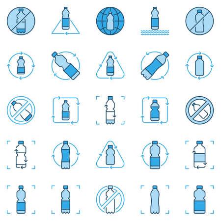 Plastic Bottle Recycling blue icons set. Vector Recycle signs Ilustração