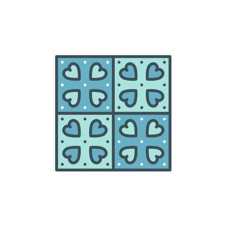 Cute Tile with Heart design vector concept blue icon