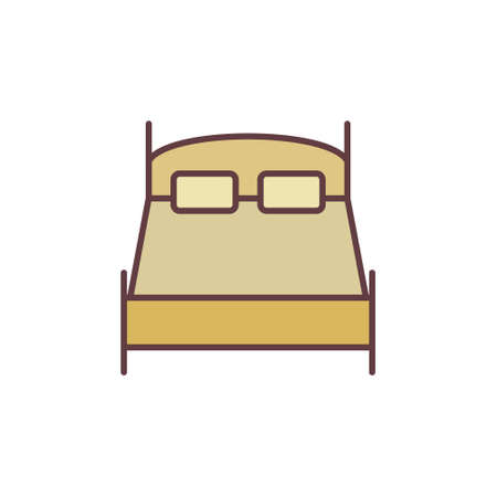 Double Bed vector concept colored simple icon