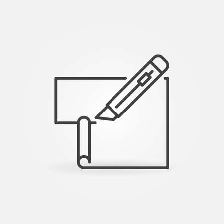 Cutter or Stationery Knife cuts Paper vector line icon