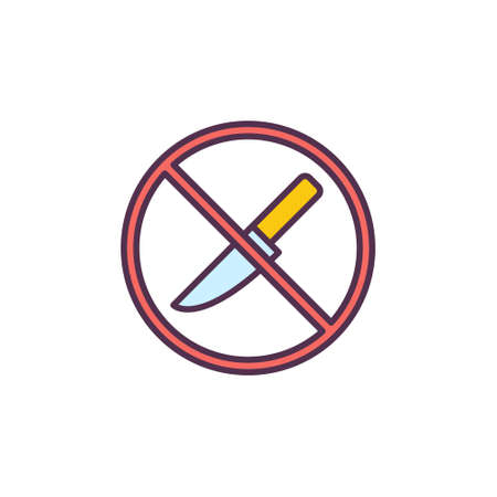 Do not open with Knife vector concept colored icon Ilustração