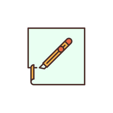 Paper and Stationery Knife vector concept colored icon