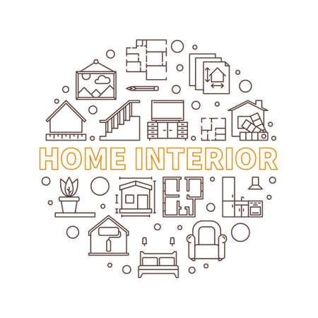 Home Interior vector circular concept linear illustration Ilustração