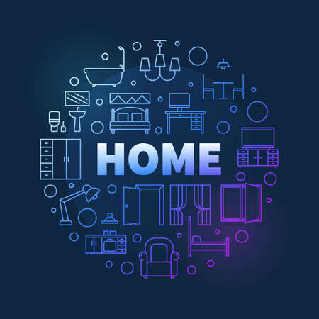 Home vector round Interior colored linear illustration