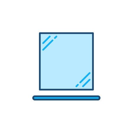 Shelf and Bathroom Mirror vector concept colored icon Ilustração