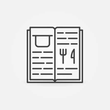 Cooking Book with Recipes linear vector concept icon Ilustração
